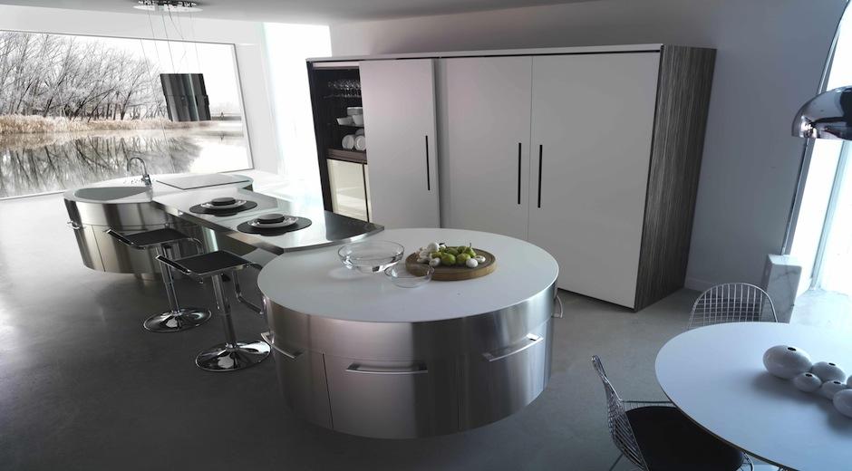 Cuisine En Chene Ceruse Blanc : Cuisine ronde 19  Photo de cuisine moderne design contemporaine luxe